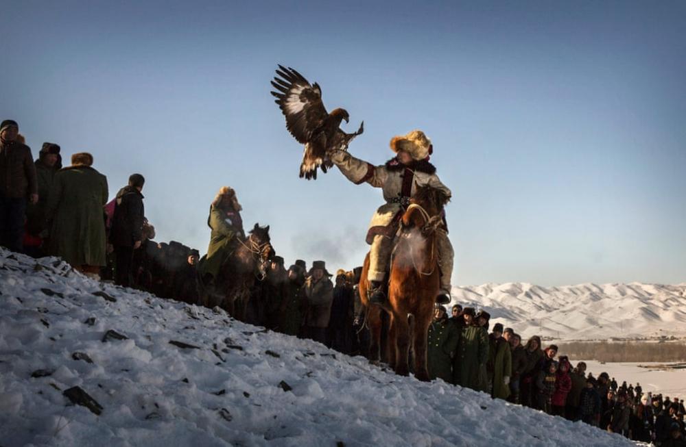 Kazakistan'daki geleneksel avcılık festivalinden kareler 12