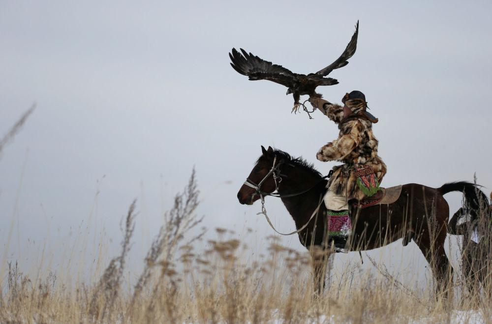 Kazakistan'daki geleneksel avcılık festivalinden kareler 5