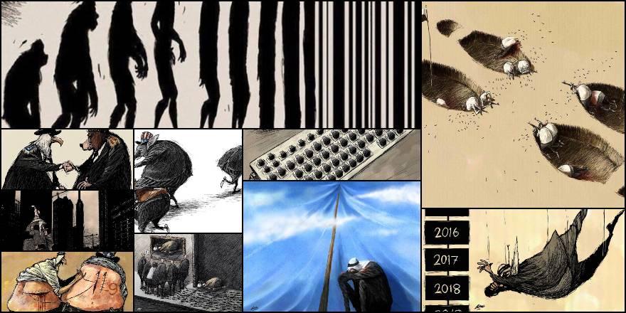 Amjad Rasmi'den 'güçlü karikatürler': Arap sokağı ve Orta