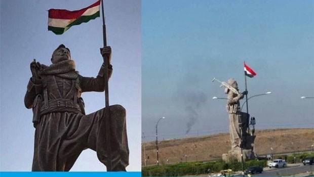 Peşmerge heykeline 'Irak bayrağı' asıldı