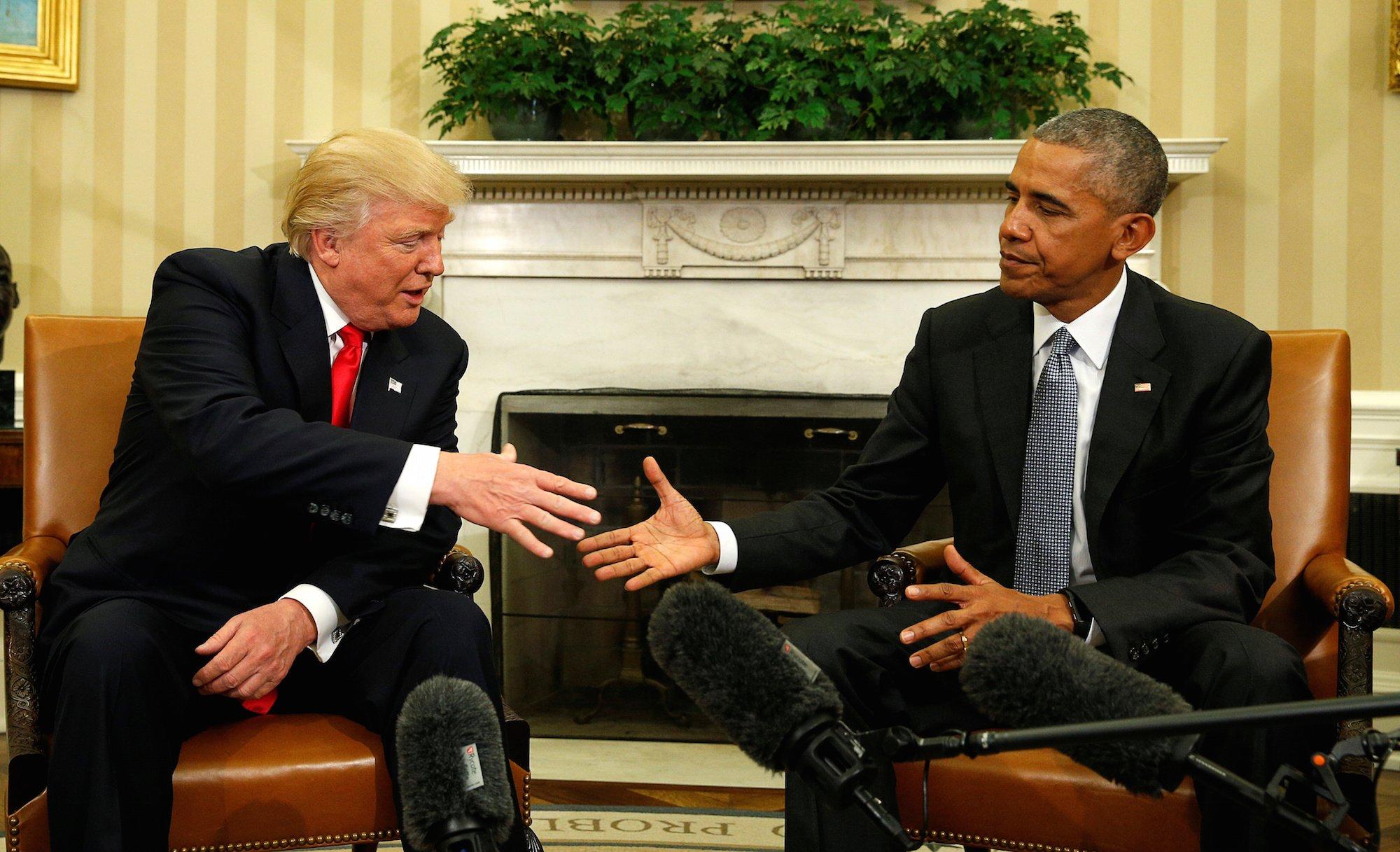 Obama müstakbel başkan Trump'ı ağırladı