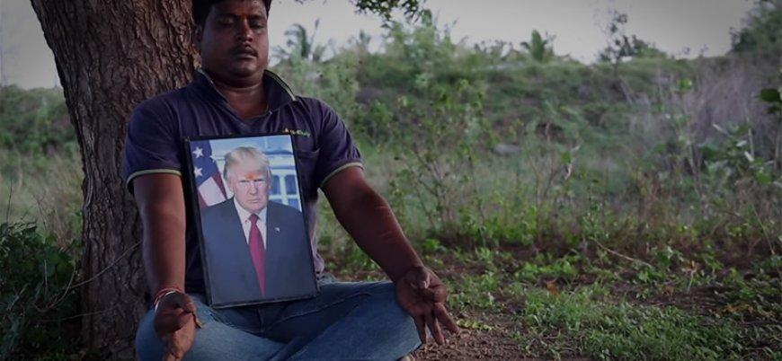 Hintli çiftçi ilah edindiği Trump'a ibadet ediyor