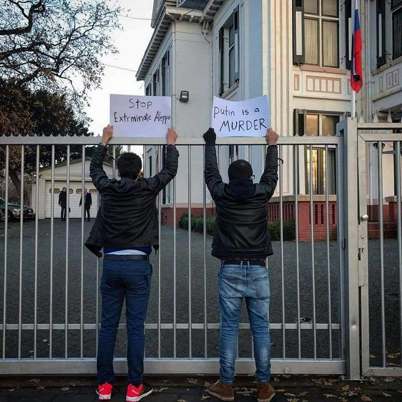 Hollanda'da Rusya protestosuna gözaltı
