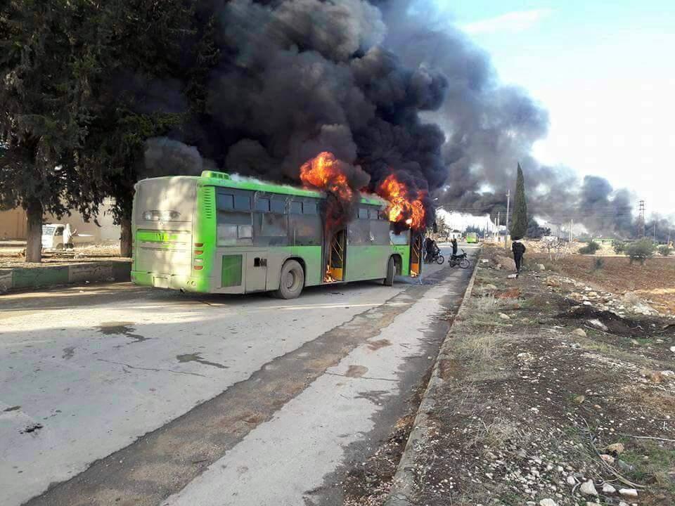 Şii köylerine giden otobüsler ateşe verildi