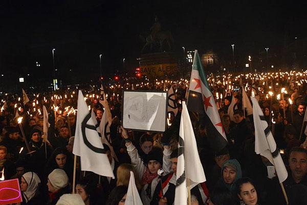 Danimarka'da 7 bin kişilik Halep protestosu