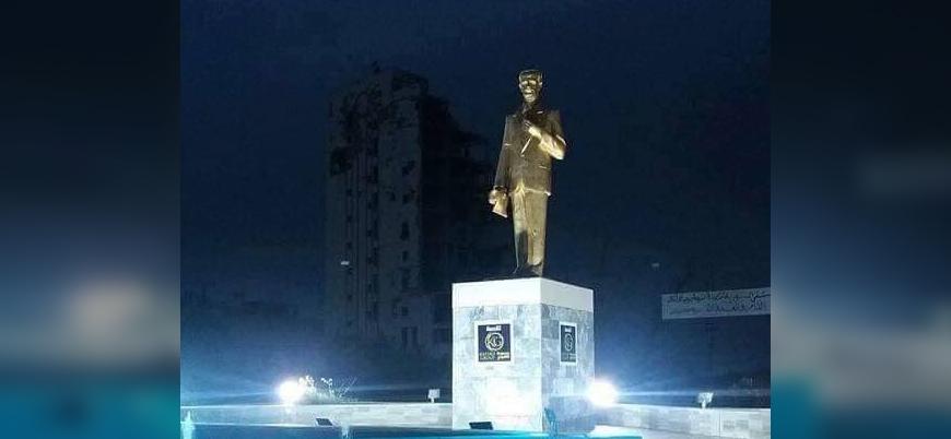 Suriye'nin yeniden inşası Hafız Esed heykeliyle başladı