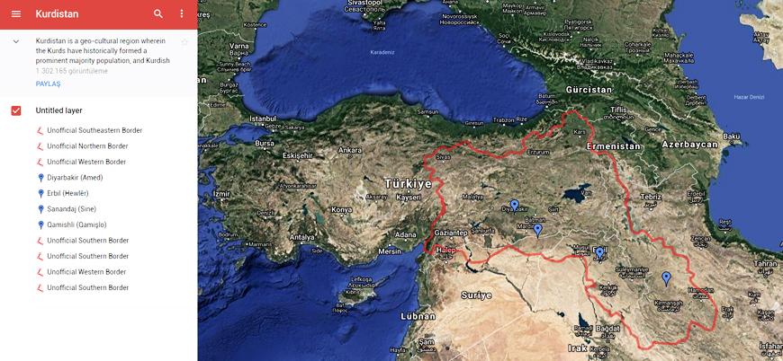 Google 'Büyük Kürdistan' haritasını sildi