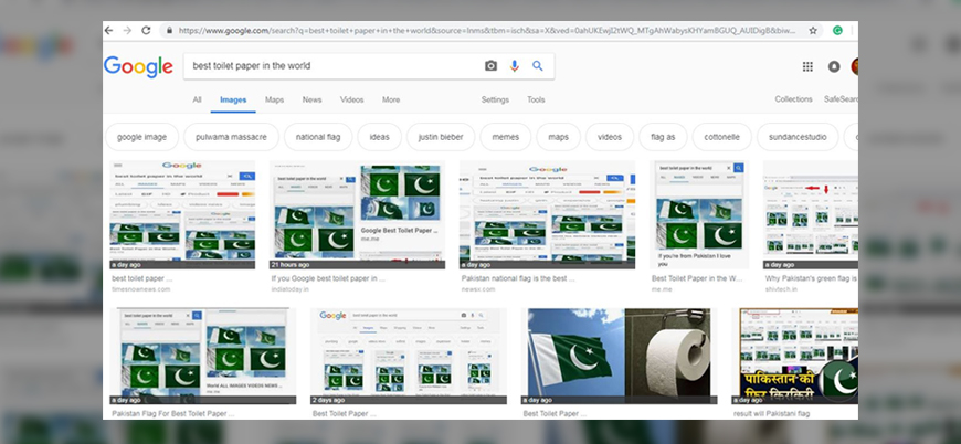 Google'a 'tuvalet kağıdı' yazınca Pakistan bayrağı çıkıyor
