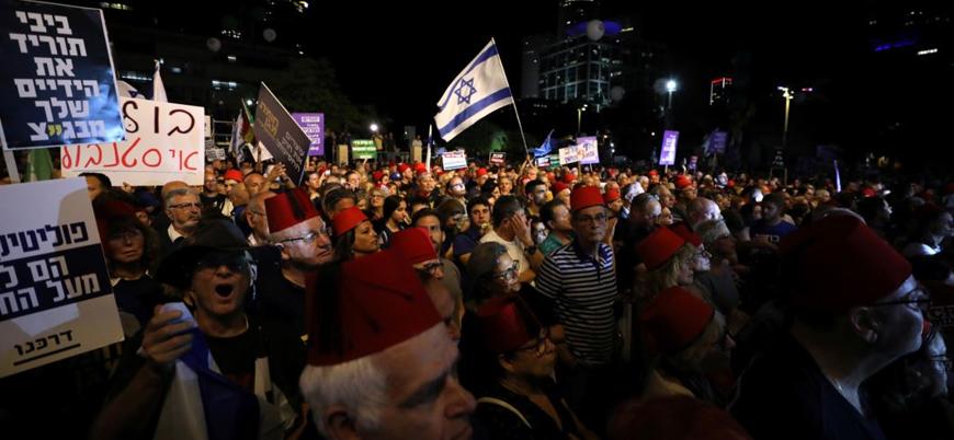 İsrail'de on binler Netanyahu'yu protesto etmek için meydana indi