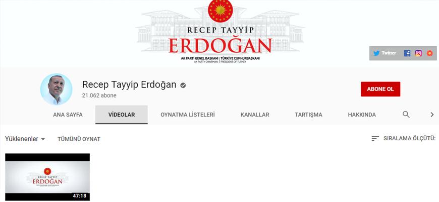 Cumhurbaşkanı Erdoğan YouTube kanalı açtı
