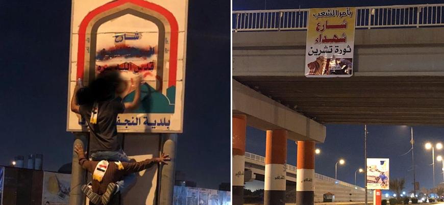 Irak'ta göstericiler 'İmam Humeyni Caddesi'nin adını değiştirdi