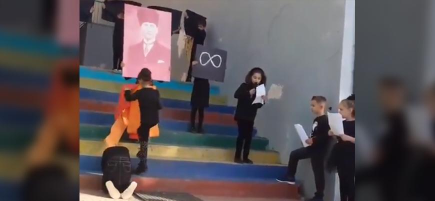 İlkokul öğretmeni öğrencileri Mustafa Kemal fotoğrafına secde ettirdi