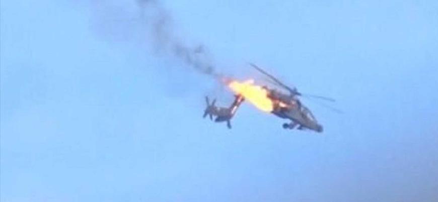 İran destekli Husilerin vurduğu Suudi Apache helikopteri böyle düştü