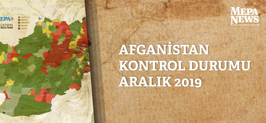 Afganistan son durum haritası (Aralık 2019)