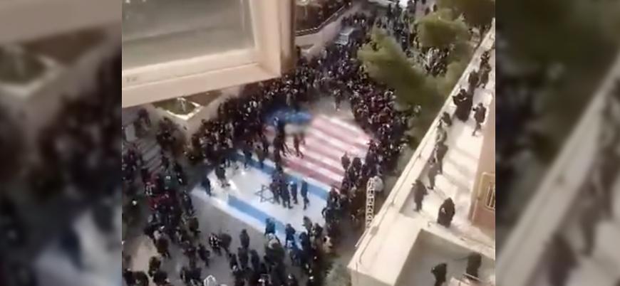 İranlı protestocular ABD ve İsrail bayrağına basmadı