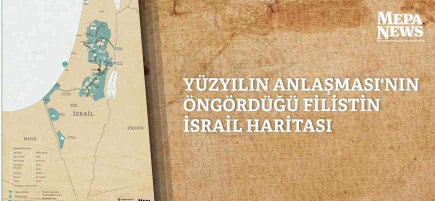 Yüzyılın Anlaşması'nın öngördüğü Filistin-İsrail haritası