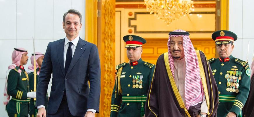 Kral Selman Yunanistan Başbakanı Miçotakis ile bir araya geldi