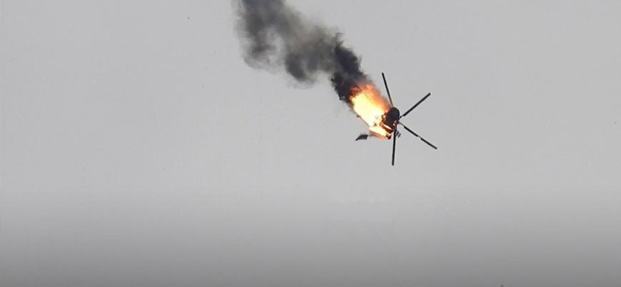 Suriyeli muhalifler İdlib'de helikopter düşürdü