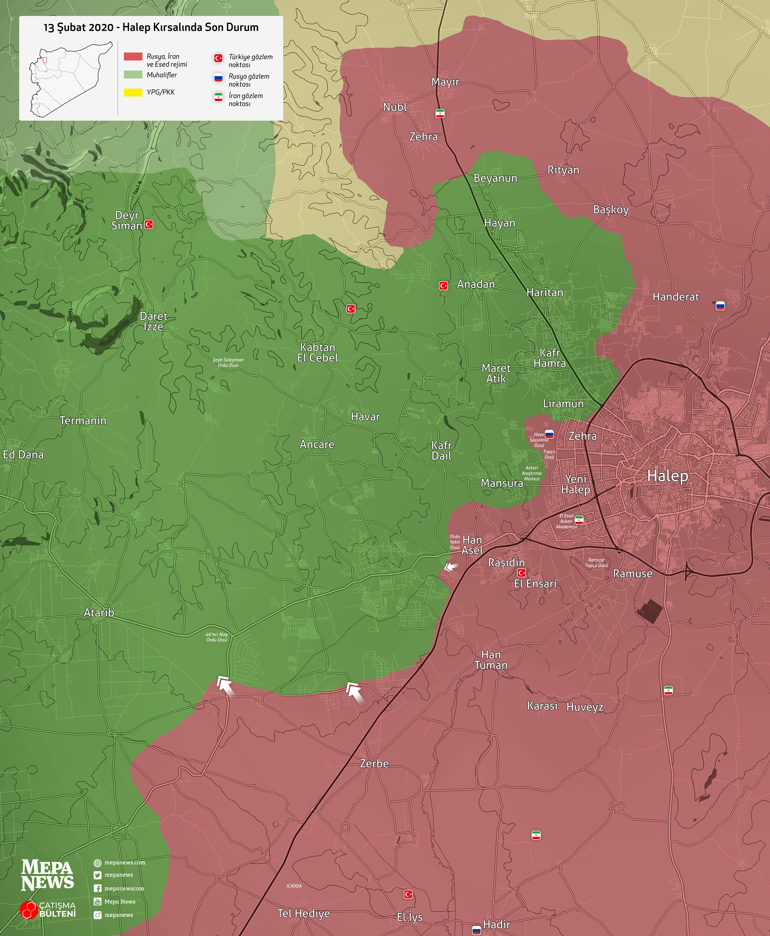 Halep kırsalında son durum (13 Şubat 2020)