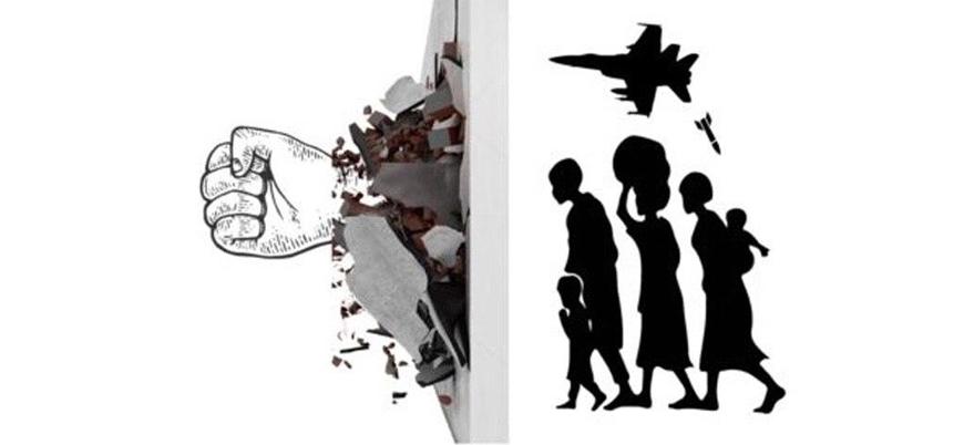 """Suriyelilerden Türkiye sınırında """"Duvarın Yıkılışı"""" eylemi"""