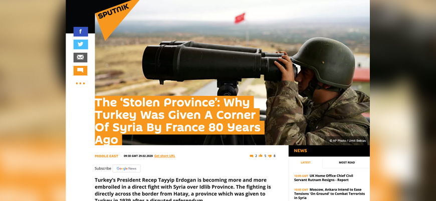 Rus haber ajansı Sputnik: Türkiye Hatay'ı Suriye'den çaldı