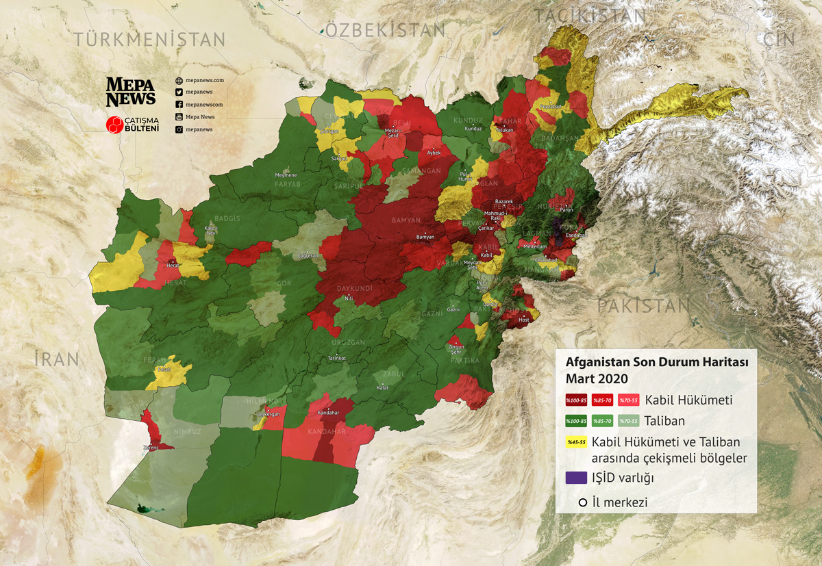 Afghanistan situation map (March 2020)