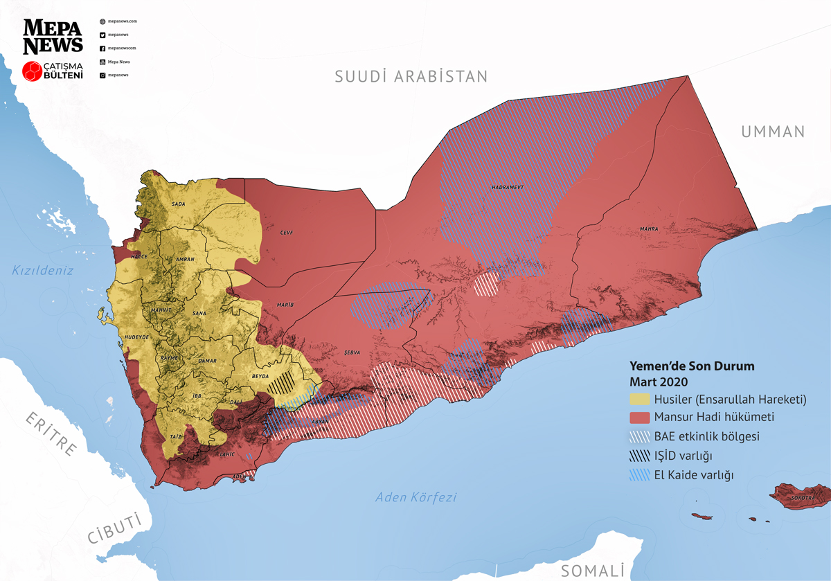 Yemen situation map (March 2020)