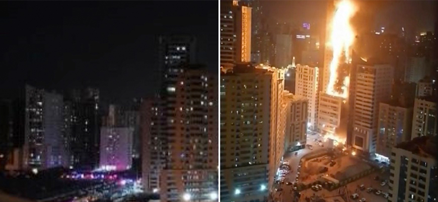 Birleşik Arap Emirlikleri'nde gökdelen yangını