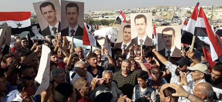 İdlib'deki TSK gözlem noktası önünde Esed rejimine destek gösterisi