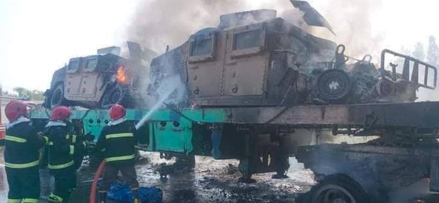 ABD'nin Afganistan'dan çektiği askeri araçlar Pakistan'da ateşe verildi