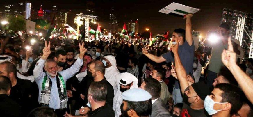 Hamas lideri Heniye Katar'da miting düzenledi