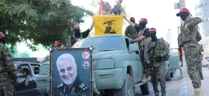 Gazze'deki askeri törenlerde Süleymani posterleri ve Hizbullah bayrağı açıldı