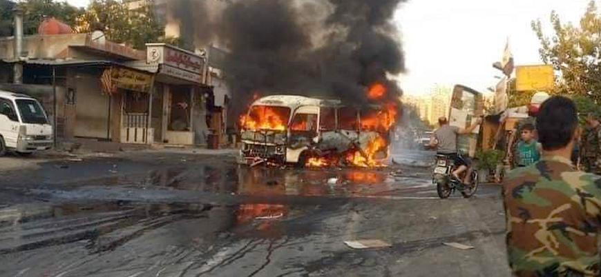 Suriye'nin başkenti Şam'da rejim subaylarını taşıyan otobüse bombalı saldırı