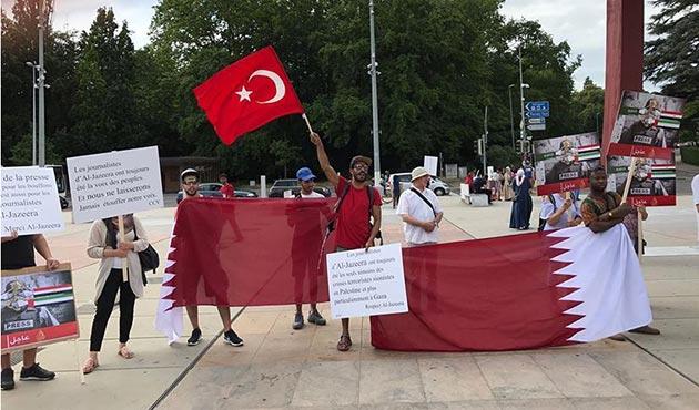 BM önünde Katar'a yönelik ablukaya protesto