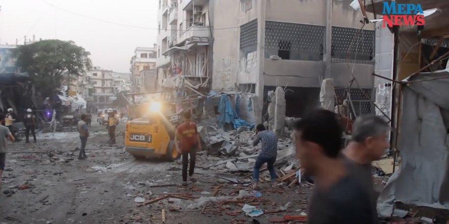 Suriye'de Rusya destekli Esed rejimi savaş uçakları iftar vakti öncesi pazar yerini vurdu