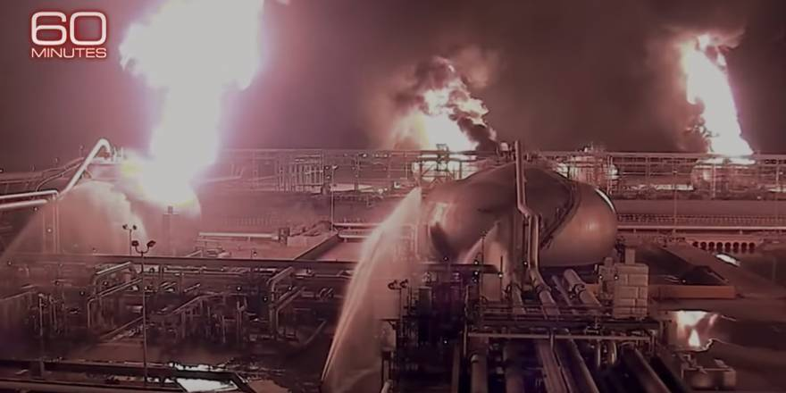Suudi Arabistan'daki Aramco petrol tesislerine yönelik saldırı anı